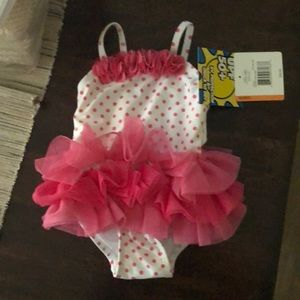 Baby pink polka dot swim suit by Little Me